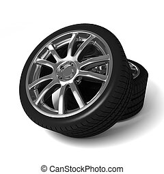 Car wheels with tires isolated on white background