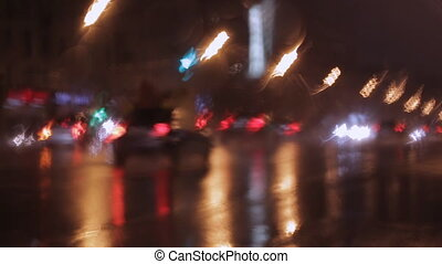 car window rain night background defocused