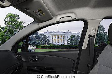 Car window view of the White House, Washington DC, USA