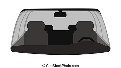 Car windshield flat vector illustration. Automobile interior with grey front seats, steering wheel, windows and rearview mirror. Empty auto, vehicle inside isolated on white background