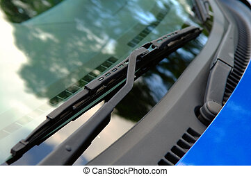 Car windshield wiper - The close up of car windwhield wiper...