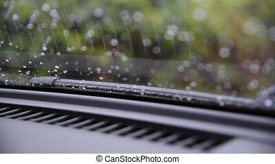 Car wiper working clean water drop on windshield