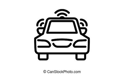 Car wireless icon animation outline best object on white background