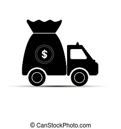 car with a bag of money, simple drawing