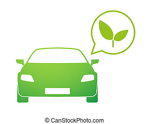 Car with a comic balloon and an ecologic icon - Illustration...