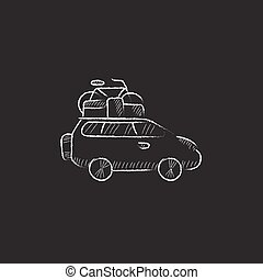 Car with bicycle mounted to the roof. Drawn in chalk icon.