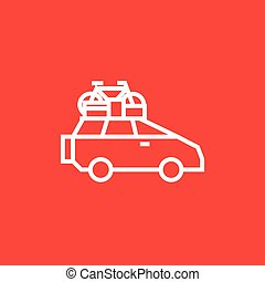 Car with bicycle mounted to the roof line icon.