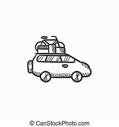 Car with bicycle mounted to the roof sketch icon.