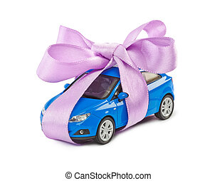 Car with bow as gift isolated on white background