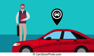 car with businessman and pin location ,4k video animation