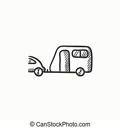 Car with caravan sketch icon.