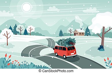 Car with christmas tree on the road. Cute winter landscape. Vector illustration in flat style