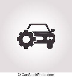 car with cogwheel icon on white background