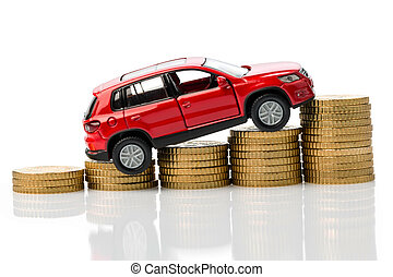 car with coins