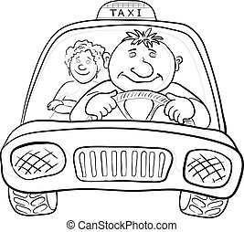 Car with driver and passenger, contours - Cartoon, car taxi ...