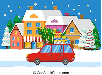 Car with Fir on Road, Cityscape with Buildings