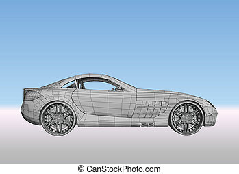 Car with grid. Vector