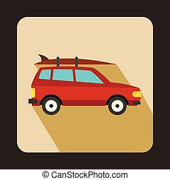 Car with luggage icon, flat style