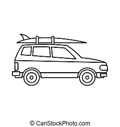 Car with luggage icon, outline style