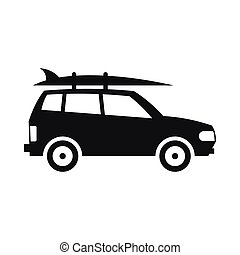Car with luggage icon, simple style