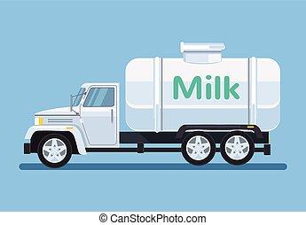 Car with milk. Vector flat cartoon