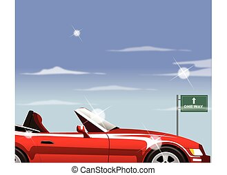 Car with 'one way' and arrow road sign