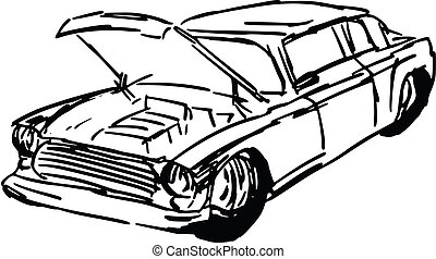 car with open hood - hand drawn, sketch, cartoon...