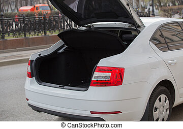 Car with open trunk