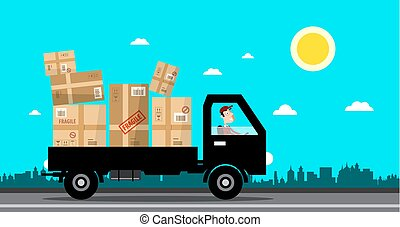 Car with Packages. Delivery Service Cartoon. Vector Flat Design Illustration.