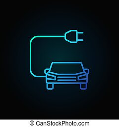 Car with plug blue icon in thin line style