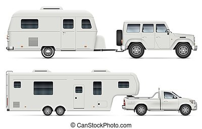 Car with RV camping trailers side view