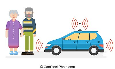 Car with satellite control for the elderly couple