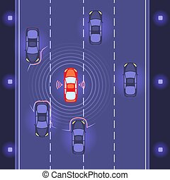 Car with scaning on road
