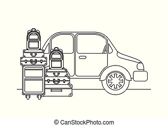 car with set suitcases travel