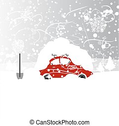 Car with snowbank on roof, winter blizzard, vector illustration