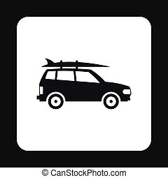 Car with surfboard icon, simple style