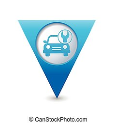 Car with tool icon on map pointer