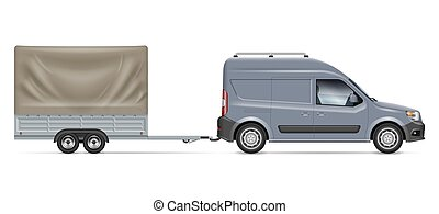 Car with trailer side view realistic vector illustration
