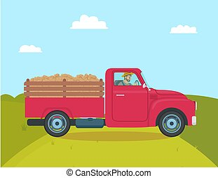 Car with Trailer Transporting Vector Illustration
