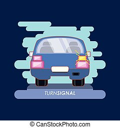 car with turn signal vector illustration design