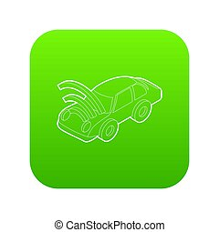Car with wifi sign icon green