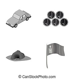 Car, wooden barrels and other monochrome icon in cartoon style. entrance to Mine, flag of Mongolia icons in set collection.
