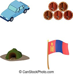 Car, wooden barrels and other web icon in cartoon style. entrance to Mine, flag of Mongolia icons in set collection.