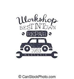 Car Workshop Black Vintage Stamp