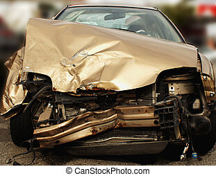 Car Wreck - Smashed up car after accident