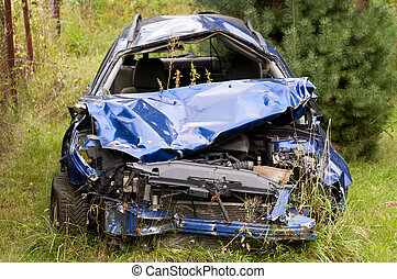 Car wreck - Old damaged rusty car wreck abandoned in the...