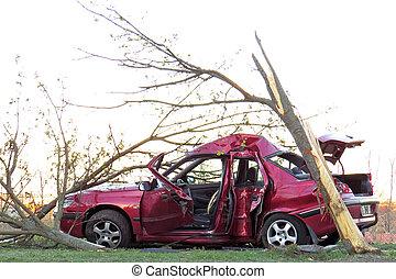 Car wreck - Car chrashed against a tree