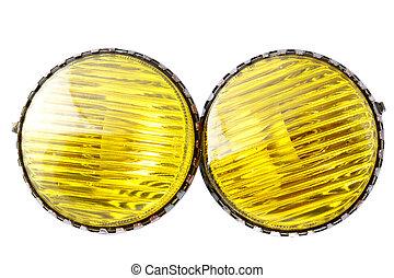 car yellow fog lights