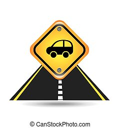 car yellow road street sign