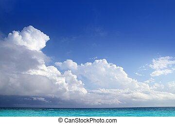 caraíbas, aqua, mar, nuvens, em, céu azul, horizonte